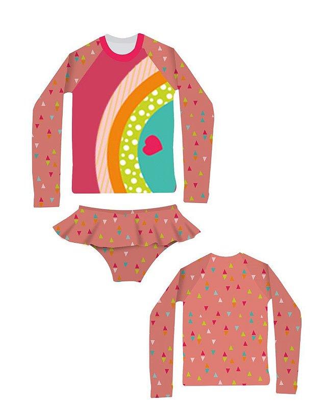 Camisa UV + Calcinha - Arco-íris