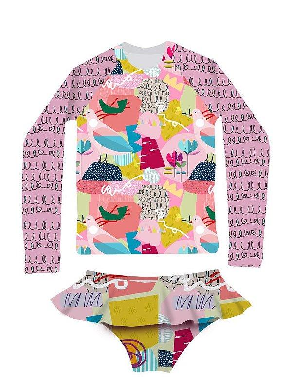 Camisa UV + Calcinha - Pássaros