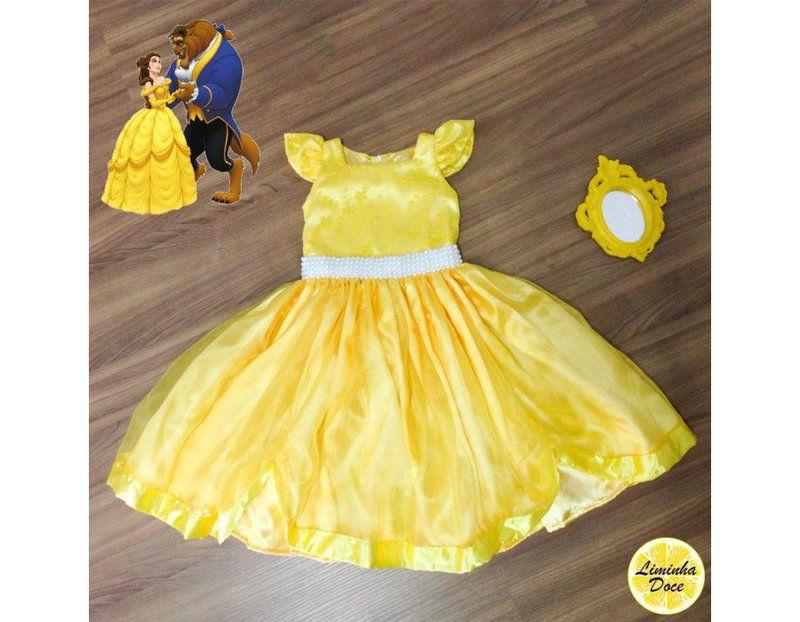 2d99e1704e9 Vestido Tema A Bela e a Fera - Infantil - Liminha Doce - Vestidos de ...