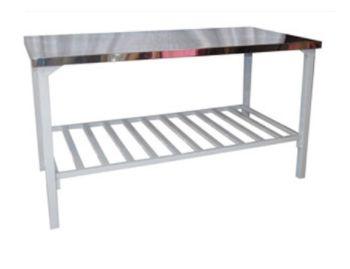 Mesa com Tampo Inox Gradil Epóxi Fixo ou Desmontável