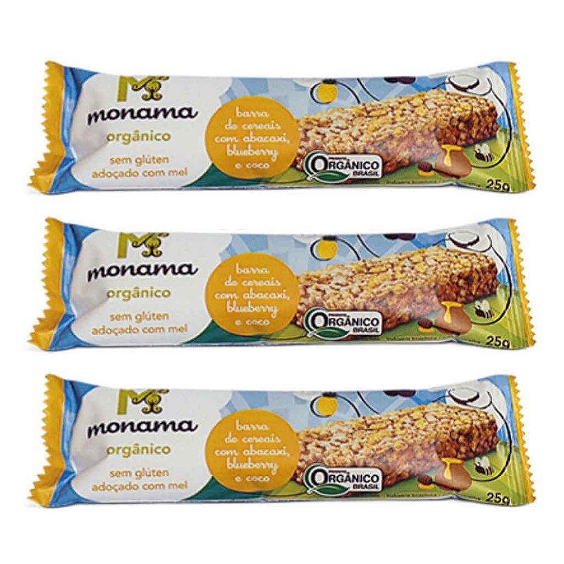 Barra de Cereal Orgânica de Abacaxi, Blueberry e Coco 3 x 25g - Monama