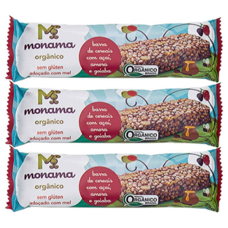 Barra de Cereal Orgânica de Açaí, Amora e Goiaba 3 x 25g - Monama