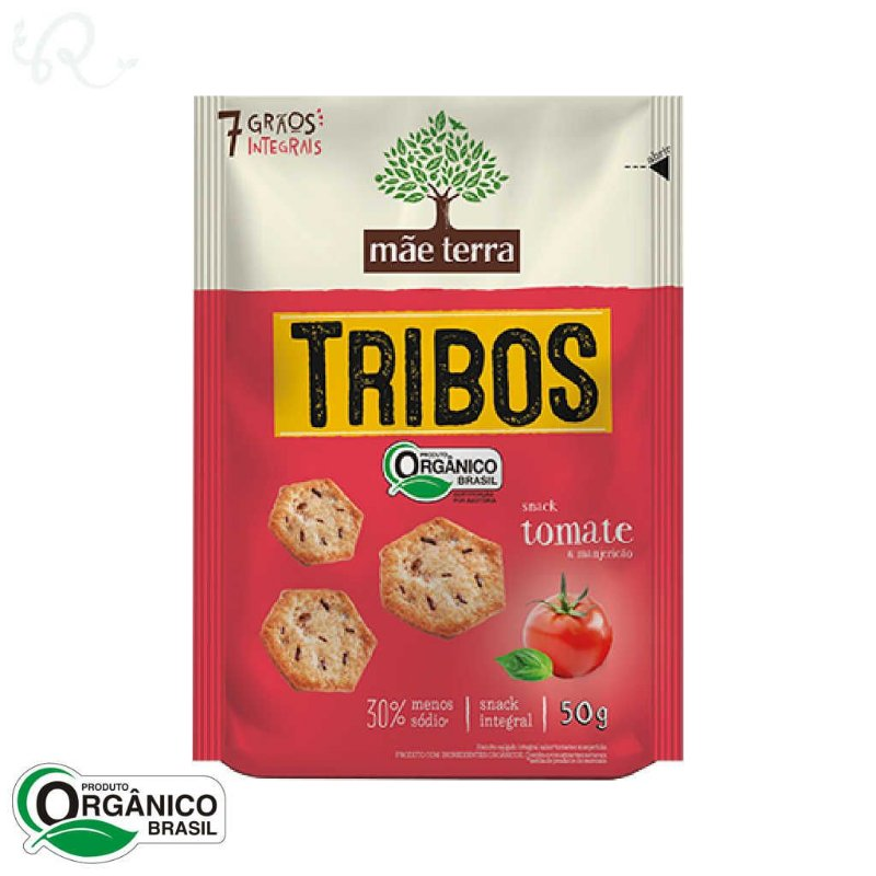 Snack Tribos Orgânico Tomate e Manjericão  50g - Mãe Terra
