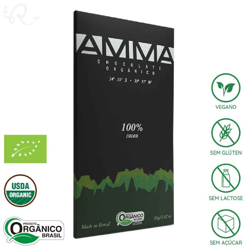 Chocolate Orgânico Amma 100% Cacau 80g - Amma Chocolate
