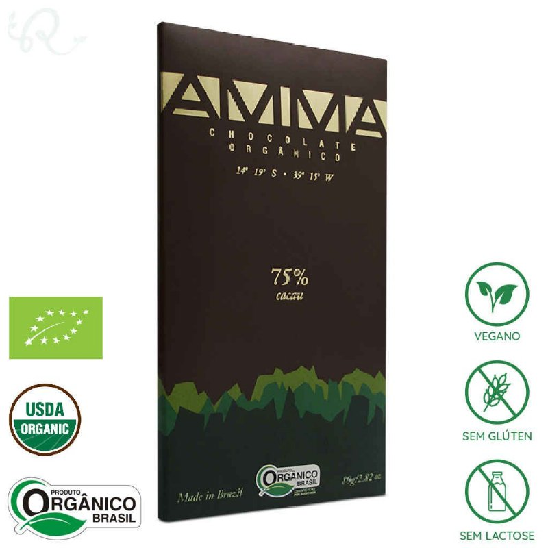 Chocolate Orgânico 75% Cacau 80g - Amma Chocolate
