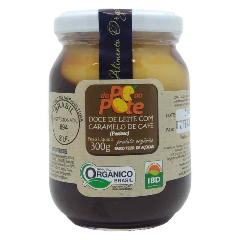 Doce de Leite Orgânico com Caramelo de Café 300g - Do Pé ao Pote