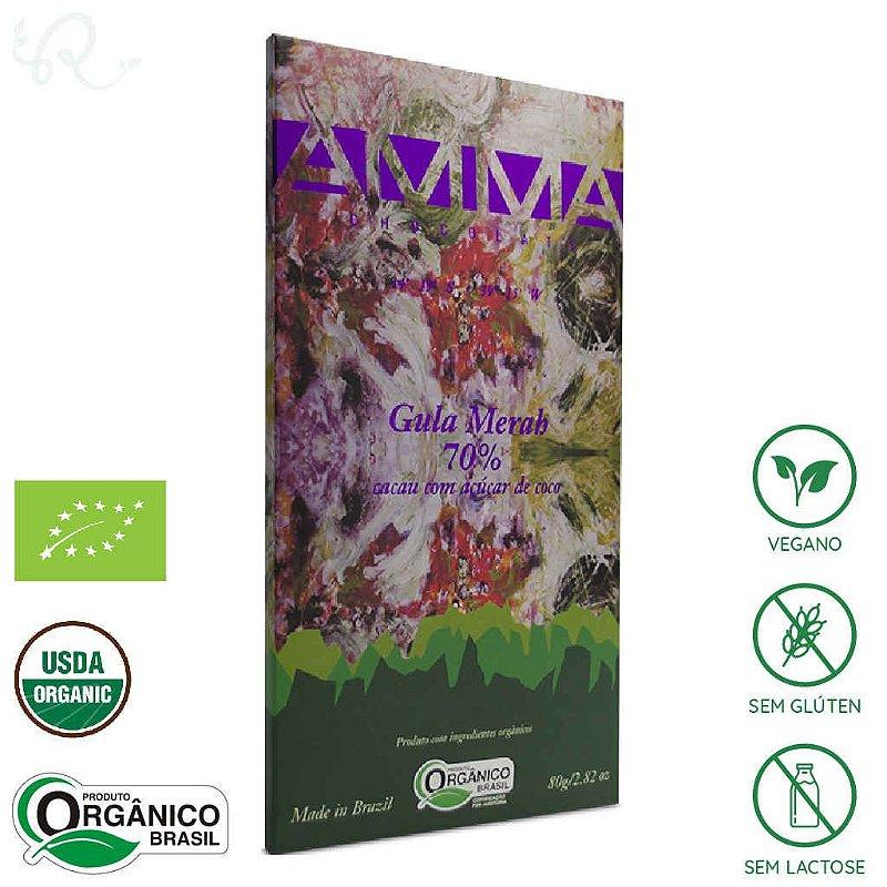 Chocolate Orgânico Gula Merah com Açúcar de Coco 70% 80g - Amma Chocolate