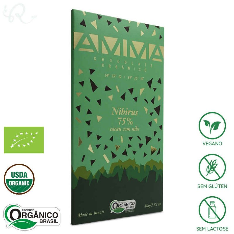 Chocolate Orgânico com Nibs de Cacau 75% Nibirus 80g - Amma Chocolate