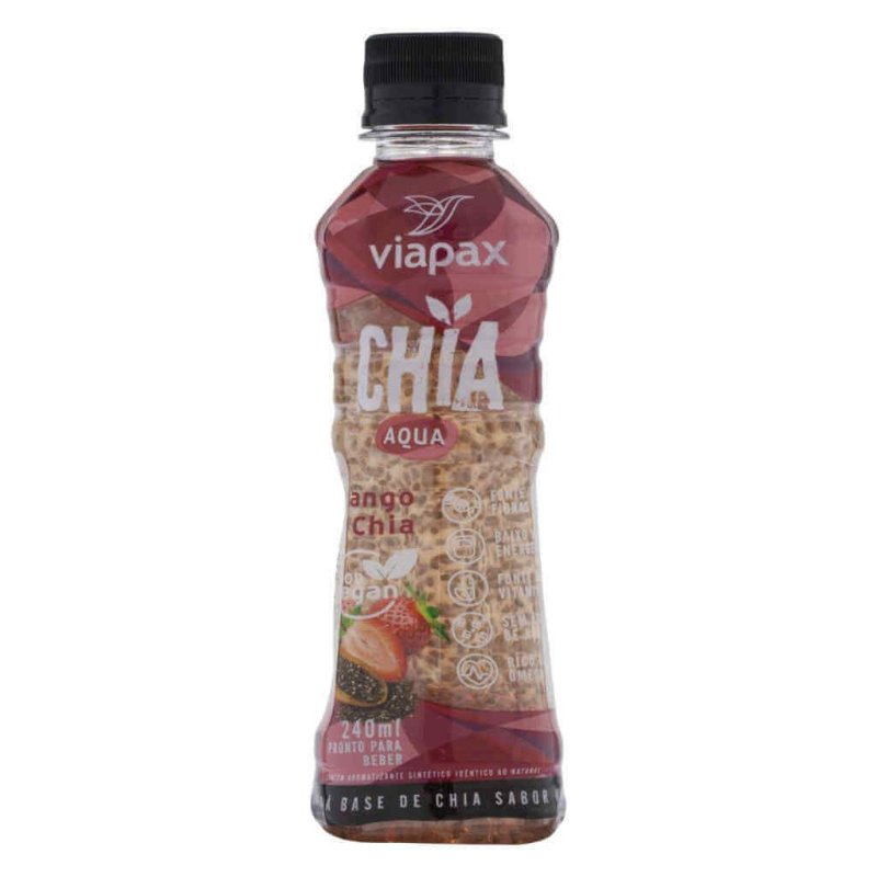 Bebida de Água com Chia Aqua sabor Morango 240ml - Viapax Bio