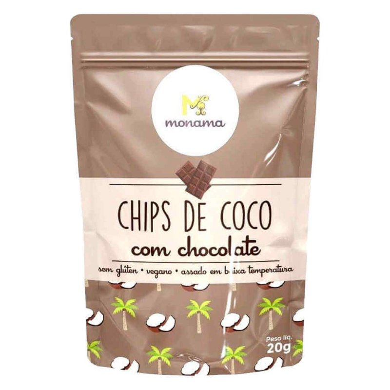 Chips de Coco com Chocolate 20g - Monama