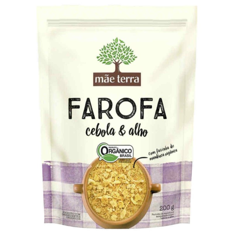 Farofa Orgânica Cebola e Alho 200g - Mãe Terra