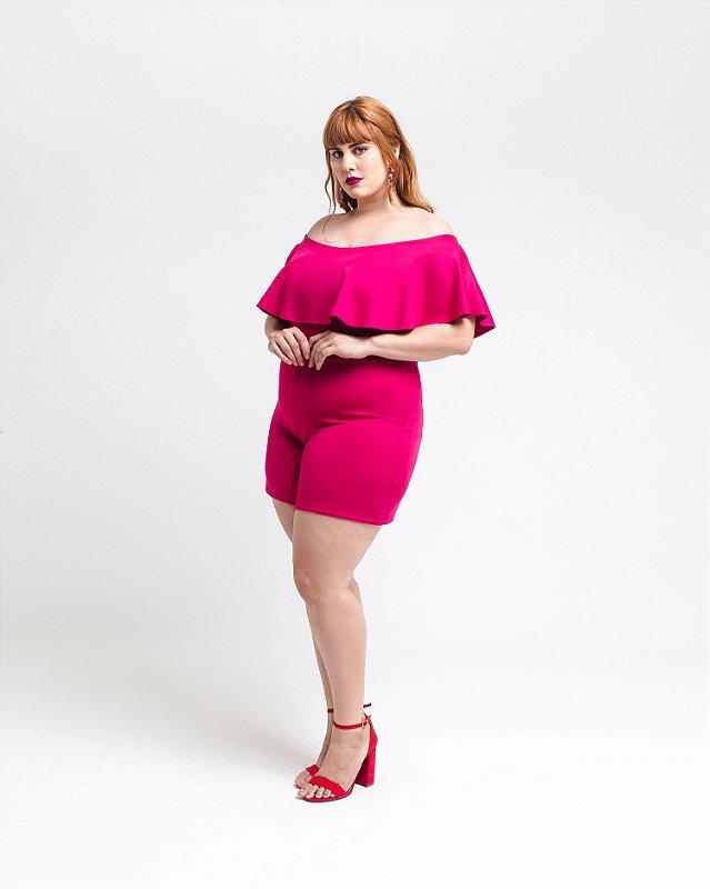 Macaquinho Plus Size com Babados - Pink
