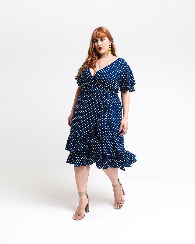 Vestido Plus Size Transpassado com Babados