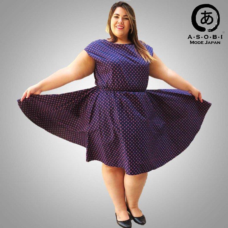 Vestido Plus Size Executiva Godê Tricoline - Kawaii
