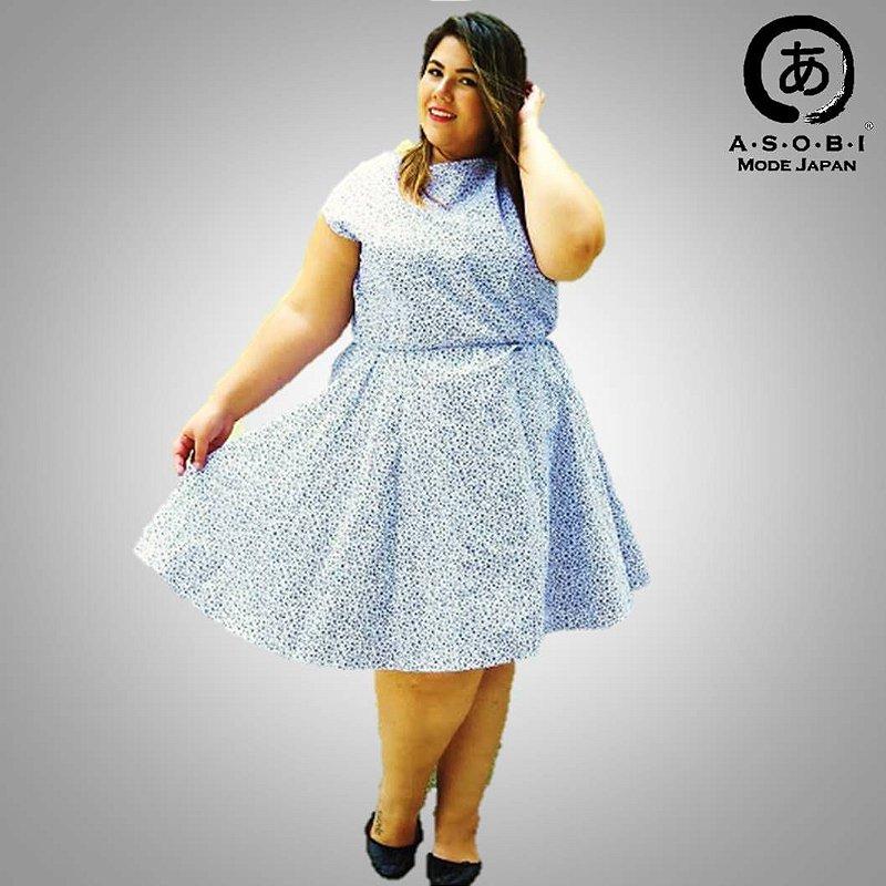 Vestido Plus Size Executiva Godê Tricoline - Haru