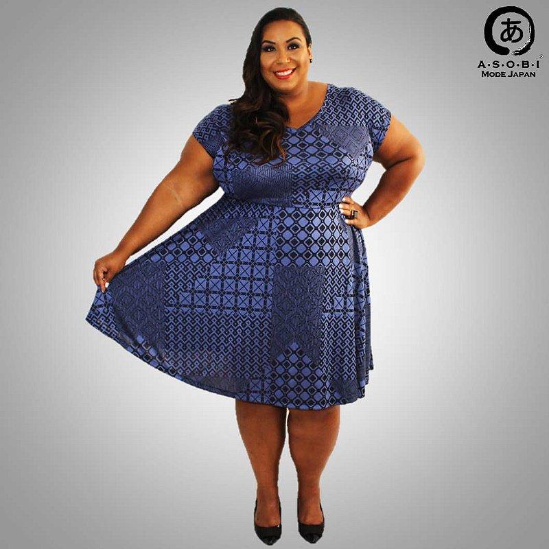 Vestido Plus Size Evasê Jacquard Estampado - Twilight