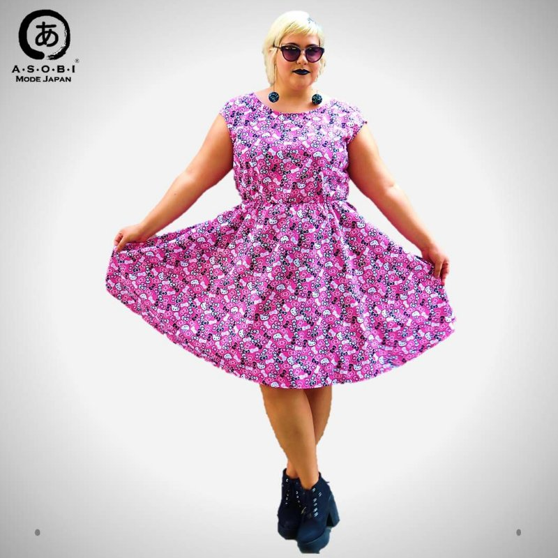 Vestido Plus Size Tricoline Evasê - Hello Kitty Pink