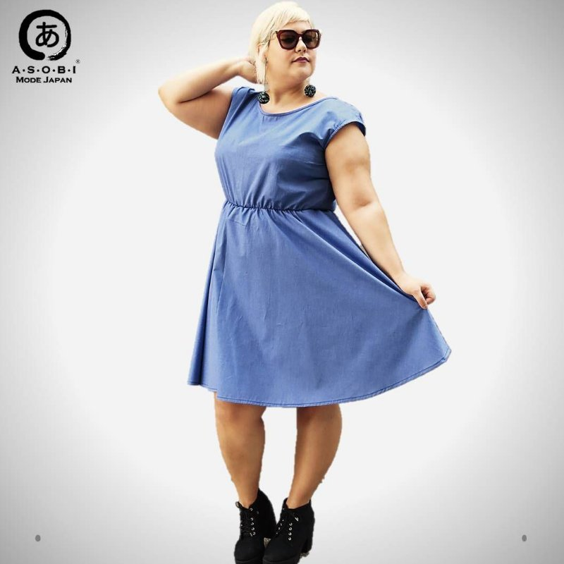Vestido Executiva Evasê Tricoline Blue com Bolsos