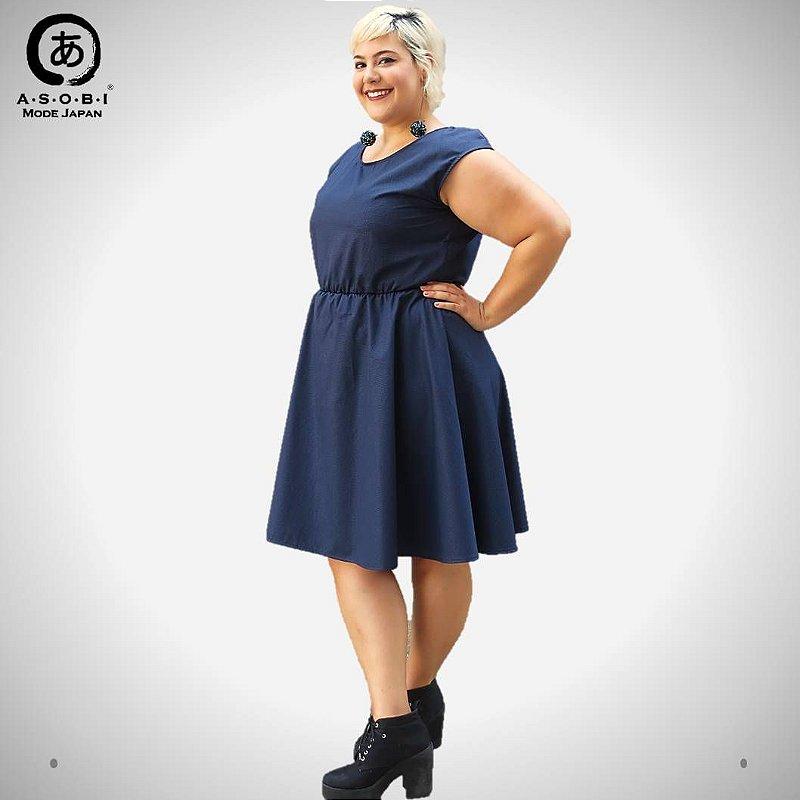 Vestido Executiva Evasê Terbrim com Bolsos - Azul
