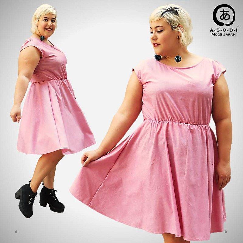 Vestido Executiva Evasê Tricoline Pink com Bolsos