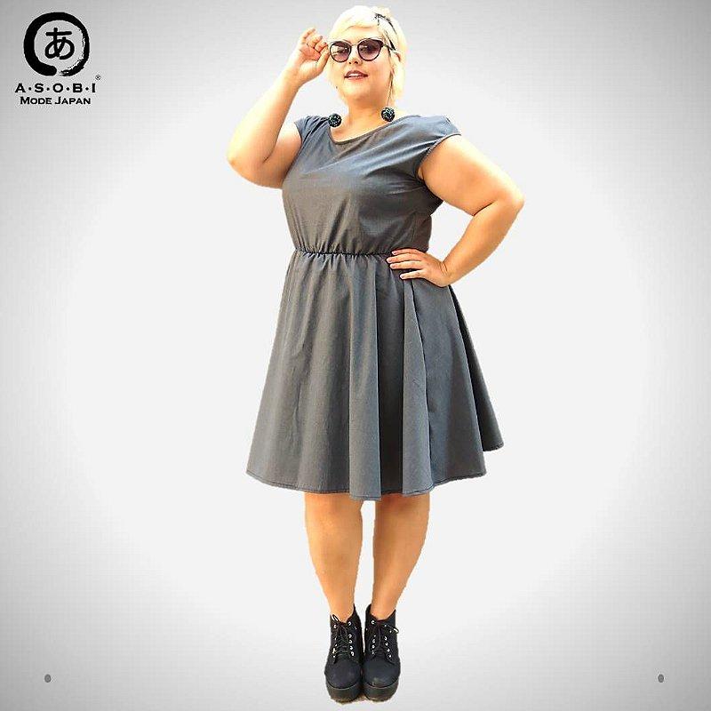 Vestido Executiva Evasê Tricoline Grey com Bolsos