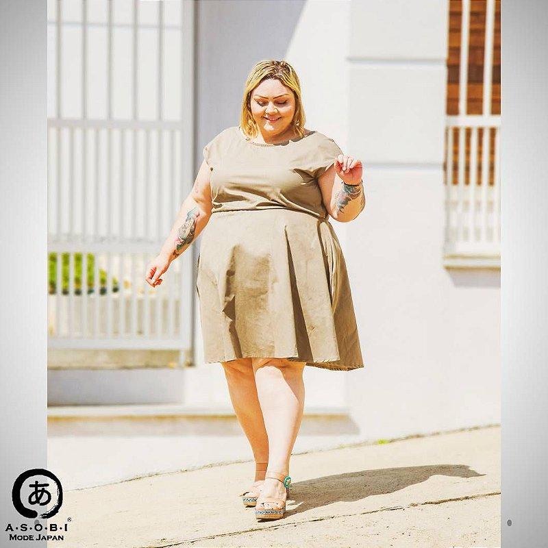 Vestido Evasê - PREMIUM - Safari com Bolsos