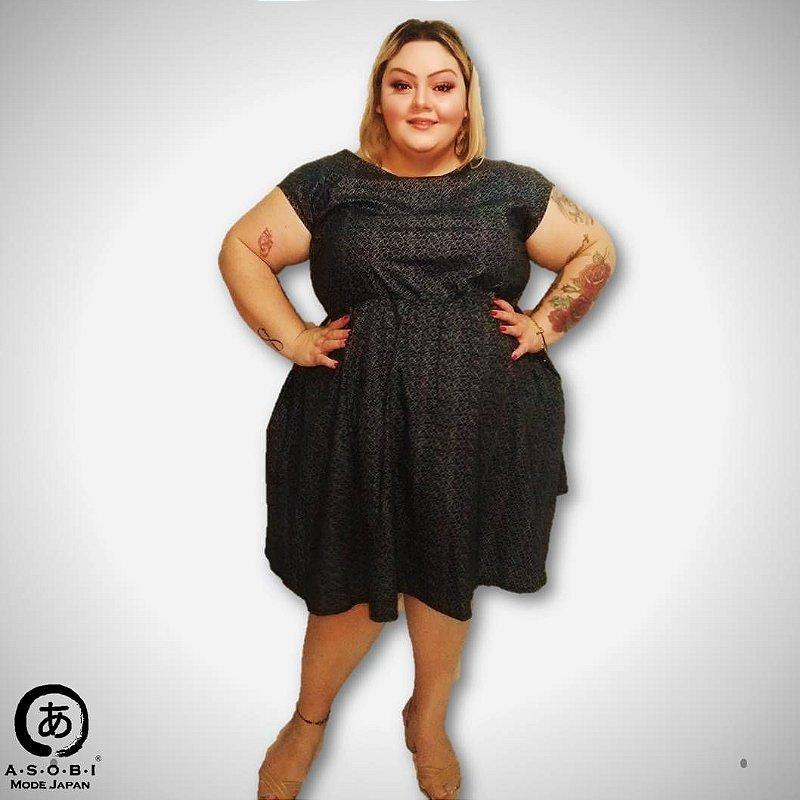Vestido Evasê Tricoline Graphic - com Bolsos