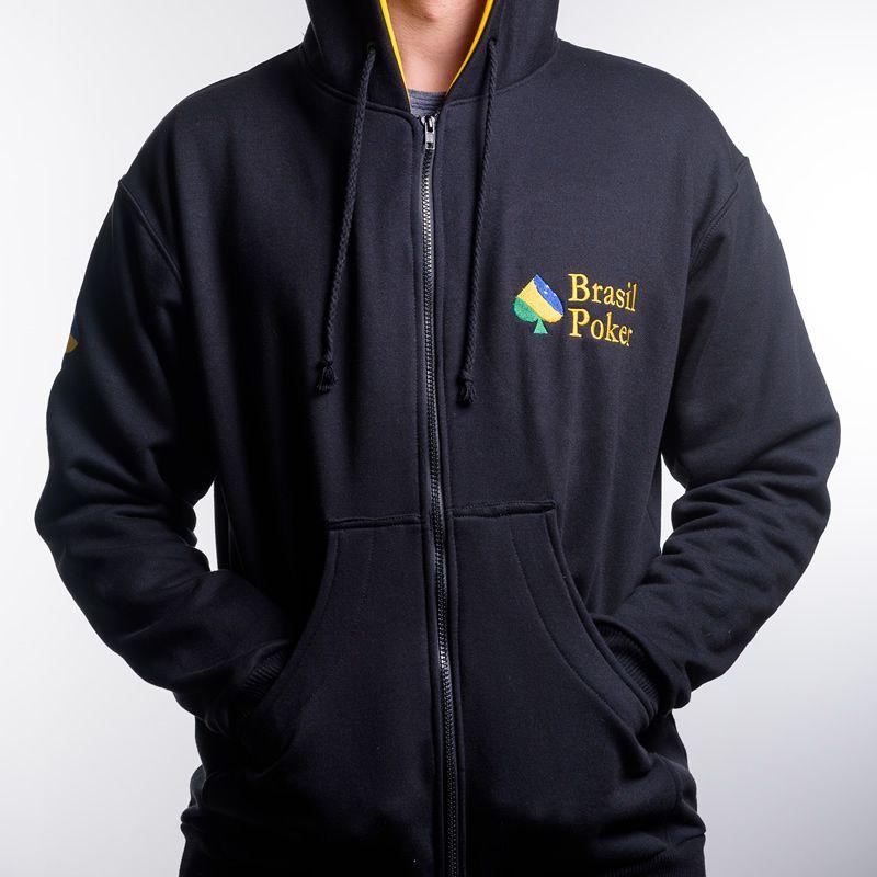 Casaco de Moletom Brasil Poker - Preto com detalhe em amarelo