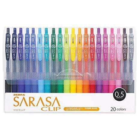Conjunto Caneta Gel Zebra Sarasa Clip 20 cores