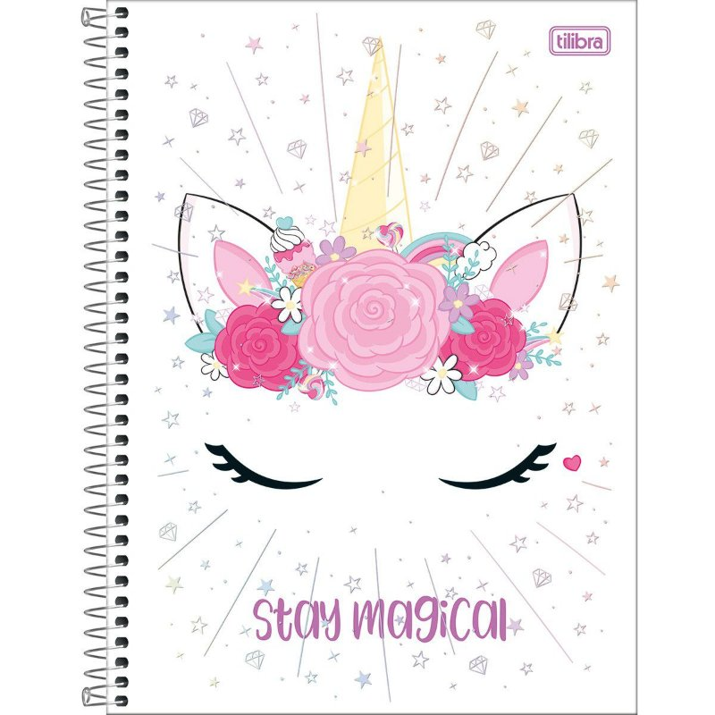 Caderno Universitário Tilibra Blink Unicornio Stay Magical 10 materias
