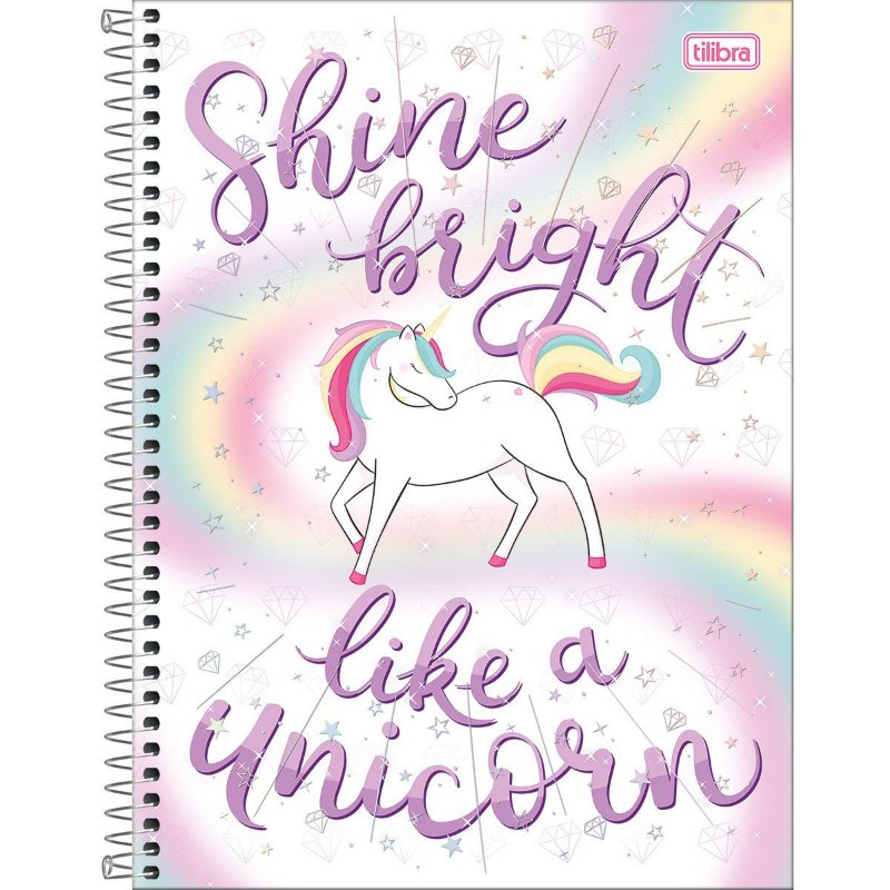 Caderno Universitário Tilibra Blink Unicornio Shine Bright 10 materias
