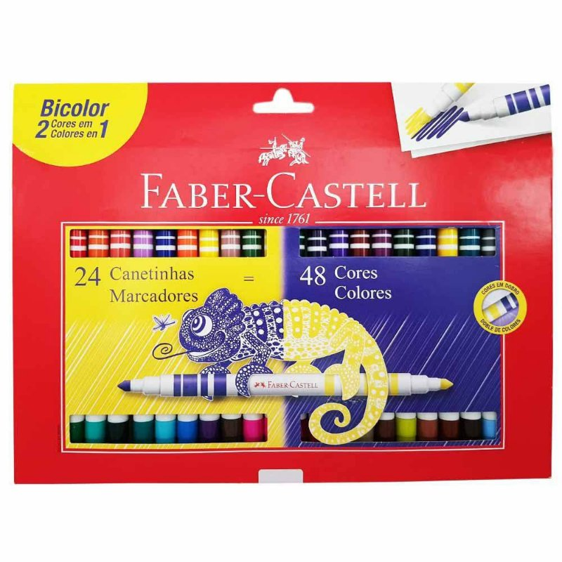 Conjunto Caneta Hidrográfica Bicolor Faber Castell 24 Canetas - 48 Cores