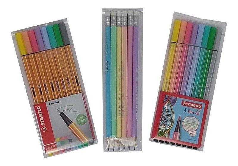 Kit Stabilo Pastel Point 88 + Pen 68 + Lápis Swano
