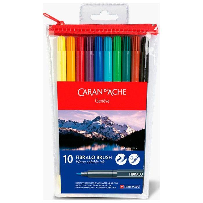 Estojo Canetas Caran d'Ache Fibralo Brush 10 cores