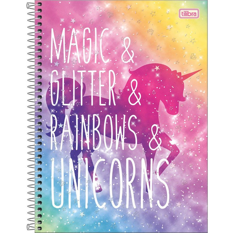 Caderno Universitário Tilibra Blink Unicornio Magic Glitter 1 materia