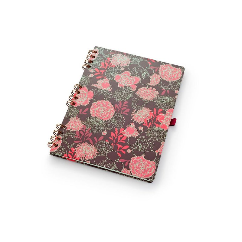Caderno Otima Floral Vermelho