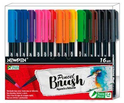 Conjunto Canetas Ponta Pincel Newpen Brush 12 Cores - 16 unidades