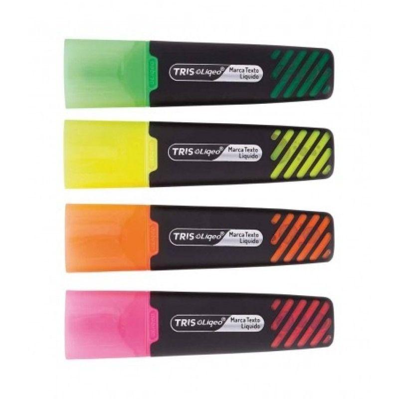 Kit Marca Texto Tris Liqeo Neon 4 cores