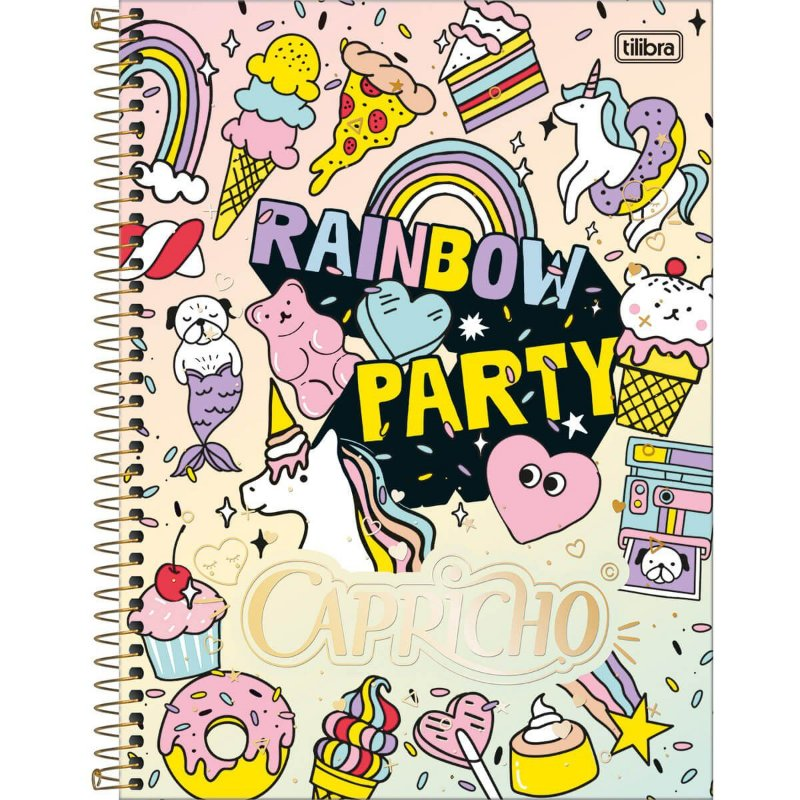Caderno Universitário Tilibra Capricho Rainbow Party 1 materia