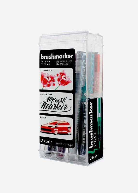 Conjunto Marcador Ponta Pincel Karin Brushmarker Pro 12 Cores Básicas