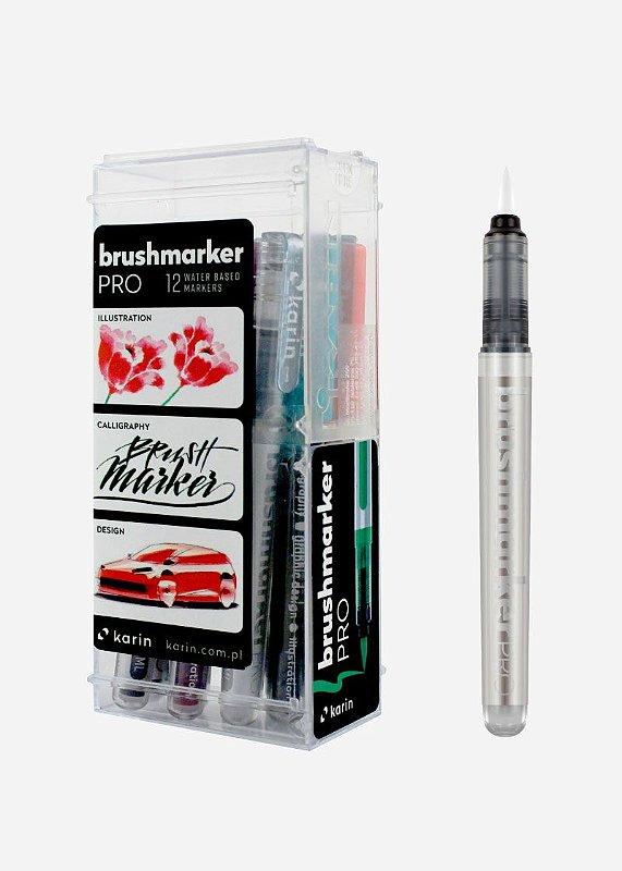 Conjunto Marcador Ponta Pincel Karin Brushmarker Pro 11 Cores Básicas + Blender