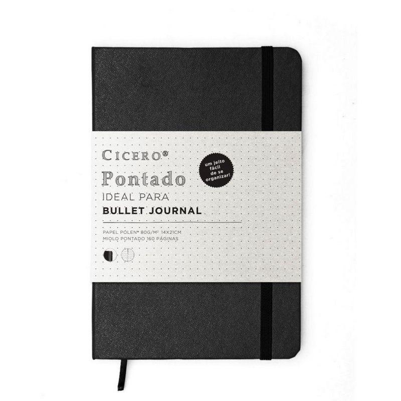 Caderneta Cicero Classica Preta Pontado