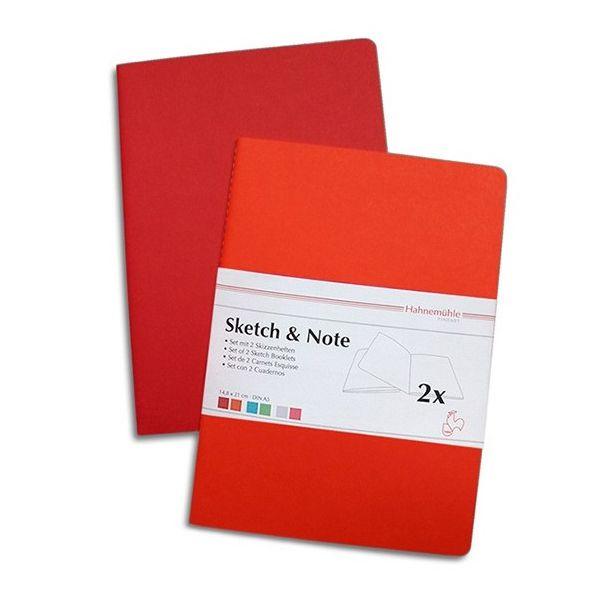 Caderneta de Desenho Hahnemuhle A4 125g Sketch & Note Vermelho/Laranja