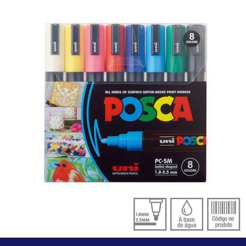 Caneta Posca PC-5M Conjunto 8 Cores Primárias