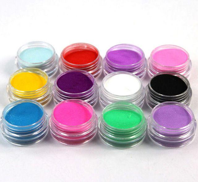 Pó acrilico colorido 12 unidades
