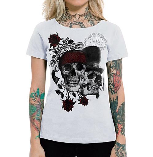 Camiseta Feminina Skulls And Roses Branca