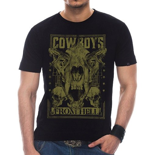 Camiseta Masculina Cowboys From Hell Preta