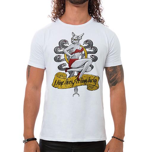 Camiseta Masculina Aero Kitty Branca