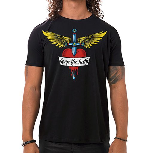 Camiseta Masculina Keep The Faith Preta