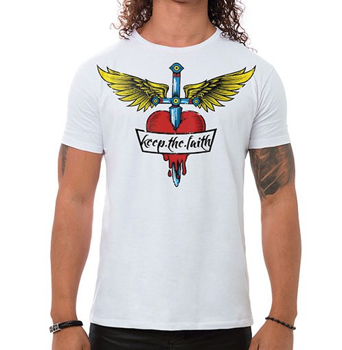 Camiseta Masculina Keep The Faith Branca